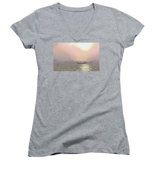 Misty Lagoona 34 X 47 Women's V-Neck T-Shirt (Junior Cut) by Michael Swanson