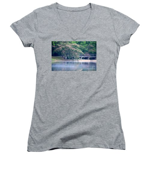 Misty Mimosa Reflections Women's V-Neck T-Shirt (Junior Cut) by Maria Urso