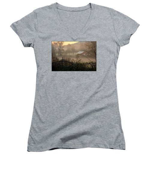 Misty Morn And Horse Women's V-Neck T-Shirt (Junior Cut) by Kathy Barney