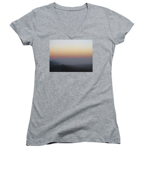 Misty Morning Road Women's V-Neck T-Shirt
