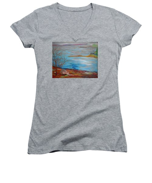Women's V-Neck T-Shirt (Junior Cut) featuring the painting Misty Surry by Francine Frank