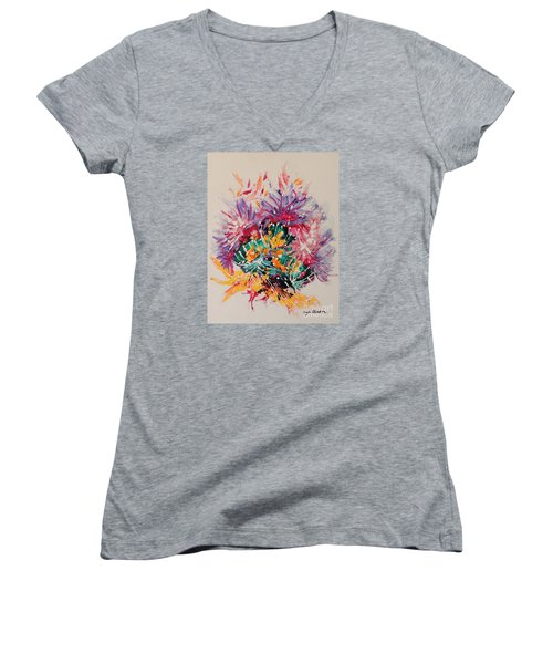 Women's V-Neck T-Shirt (Junior Cut) featuring the painting Mixed Coral by Lyn Olsen