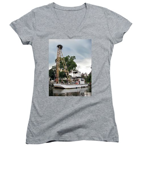 Women's V-Neck T-Shirt (Junior Cut) featuring the photograph Mobile Osprey Nest by Brian Wallace