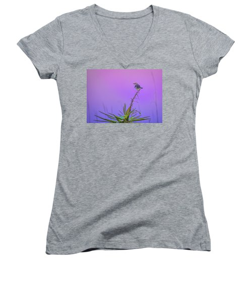 Women's V-Neck T-Shirt (Junior Cut) featuring the photograph Mocking The Yucca by Rob Sellers