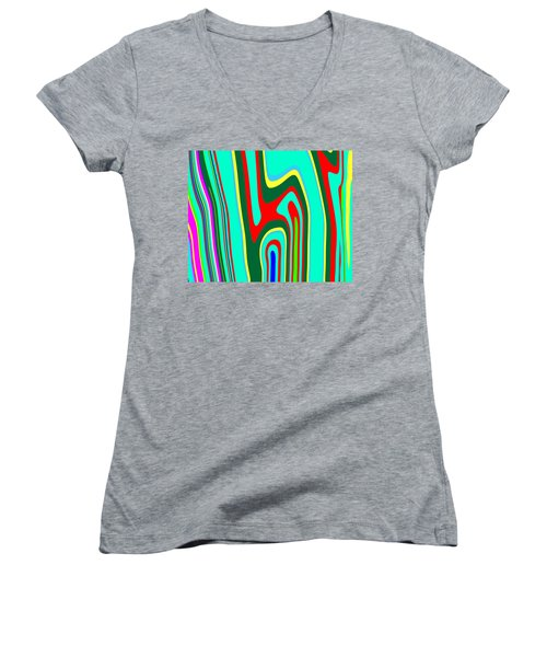 Women's V-Neck T-Shirt (Junior Cut) featuring the painting Mod Stripes  C2014 by Paul Ashby