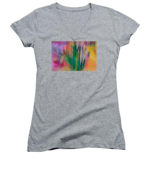 Women's V-Neck T-Shirt (Junior Cut) featuring the photograph Modern Art Flower Garden by Susan Leggett