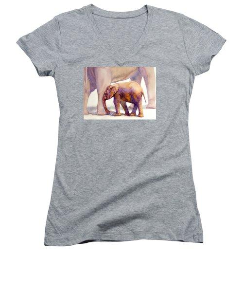 Mom And Baby Boy Elephants Women's V-Neck T-Shirt (Junior Cut) by Bonnie Rinier
