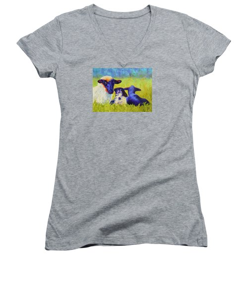 Women's V-Neck T-Shirt (Junior Cut) featuring the painting Mom And The Kids by Nancy Jolley
