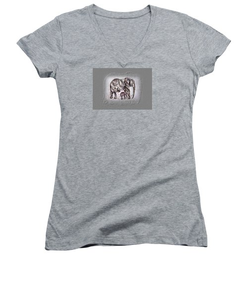 Mom Elephant Women's V-Neck