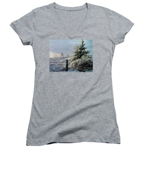 Moment Of Peace Women's V-Neck T-Shirt (Junior Cut) by Rory Sagner