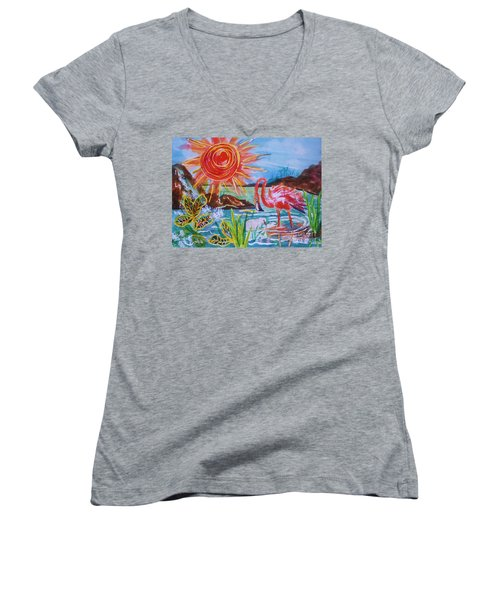 Momma And Baby Flamingo Chillin In A Blue Lagoon  Women's V-Neck (Athletic Fit)