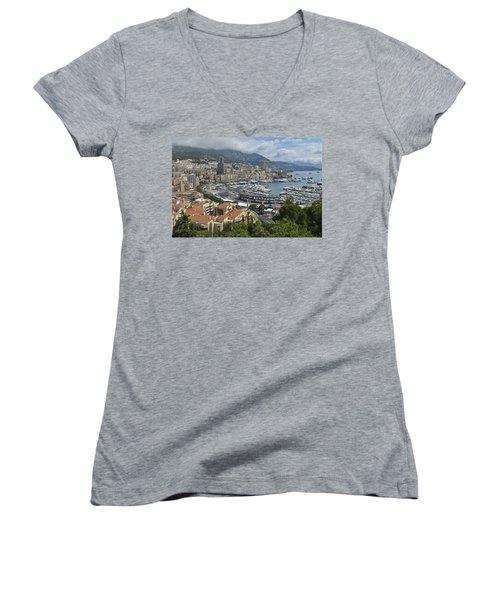 Women's V-Neck T-Shirt (Junior Cut) featuring the photograph Monaco Harbor by Allen Sheffield