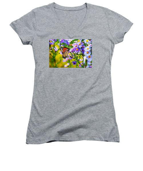 Monarch Butterfly 4 Women's V-Neck (Athletic Fit)