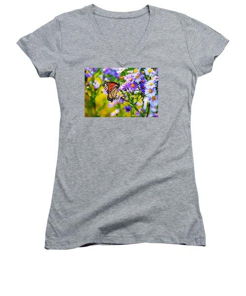 Monarch Butterfly 4 Women's V-Neck T-Shirt