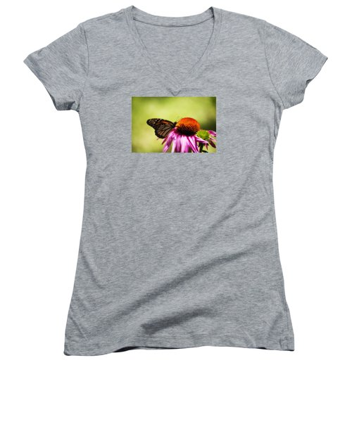 Monarch Glow Women's V-Neck T-Shirt (Junior Cut) by Shelly Gunderson