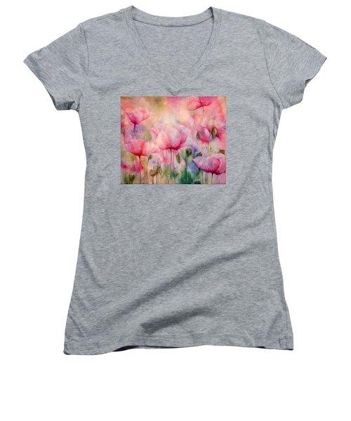 Monet's Poppies Vintage Warmth Women's V-Neck