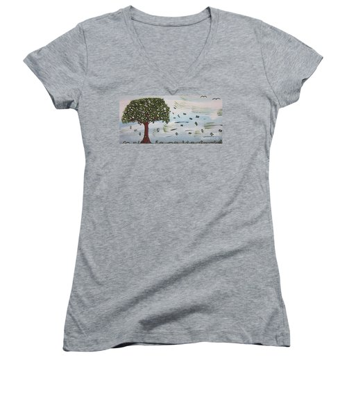 The Money Tree Women's V-Neck T-Shirt (Junior Cut) by Jeffrey Koss