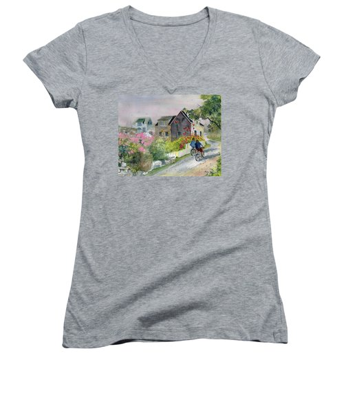 Monhegan In August Women's V-Neck T-Shirt (Junior Cut) by Melly Terpening