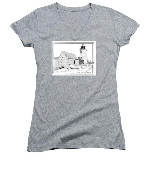 Monhegan Island Light Women's V-Neck T-Shirt (Junior Cut) by Ira Shander