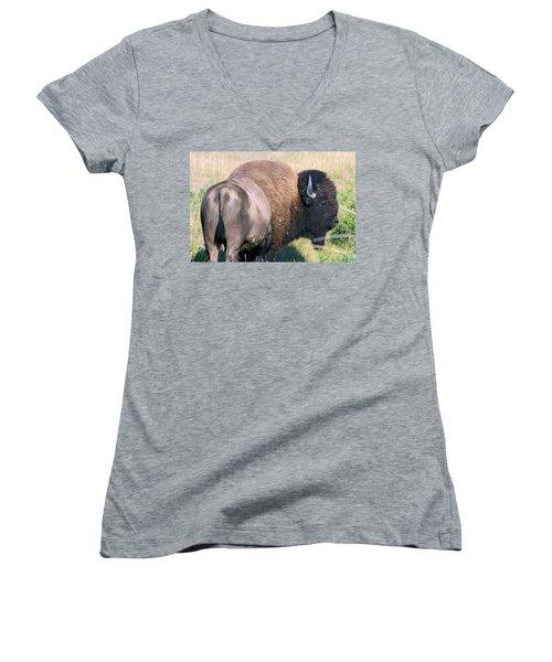 Montana Buffalo Bison Bull Women's V-Neck T-Shirt (Junior Cut) by Karon Melillo DeVega