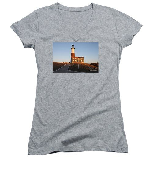 Montauk Lighthouse Entrance Women's V-Neck (Athletic Fit)