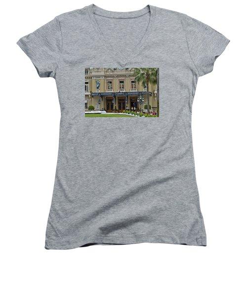 Women's V-Neck T-Shirt (Junior Cut) featuring the photograph Monte Carlo Casino by Allen Sheffield