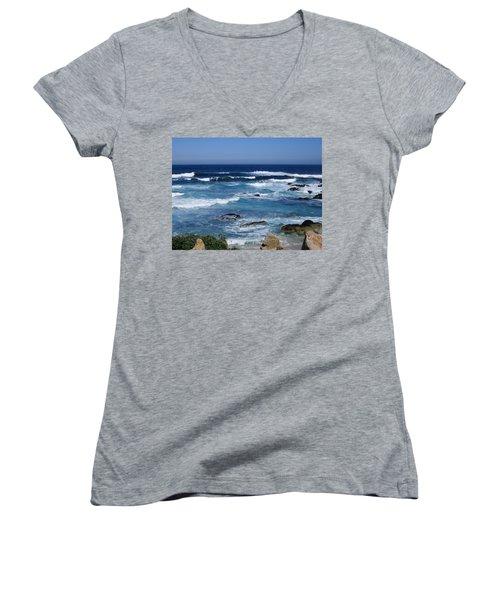 Women's V-Neck T-Shirt (Junior Cut) featuring the photograph Monterey-9 by Dean Ferreira