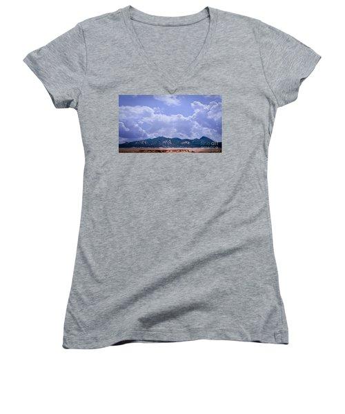 Montezuma County Landmark Women's V-Neck T-Shirt (Junior Cut) by Janice Rae Pariza