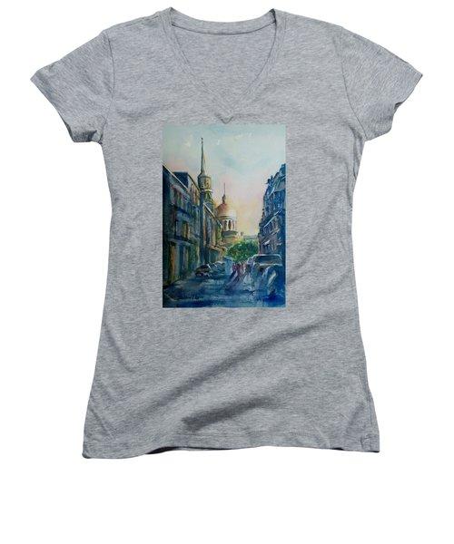 Montreal Skyline Women's V-Neck T-Shirt (Junior Cut) by Debbie Lewis
