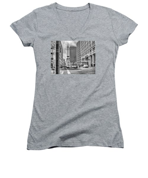 Women's V-Neck featuring the photograph Monument Circle by Howard Salmon