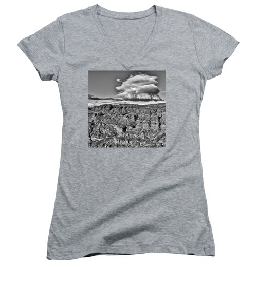 Women's V-Neck T-Shirt (Junior Cut) featuring the photograph Monument Valley 5 Bw by Ron White