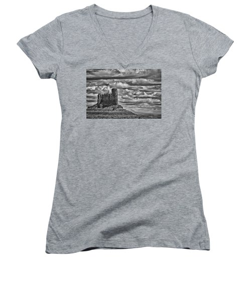 Women's V-Neck T-Shirt (Junior Cut) featuring the photograph Monument Valley 6 Bw by Ron White