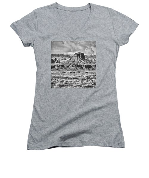 Women's V-Neck T-Shirt (Junior Cut) featuring the photograph Monument Valley 7 Bw by Ron White