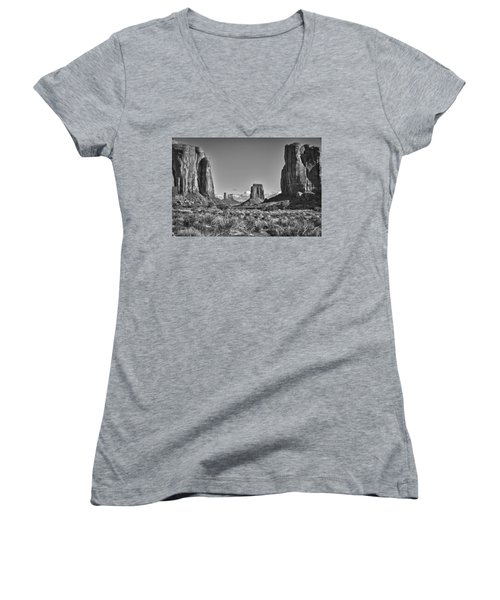 Women's V-Neck T-Shirt (Junior Cut) featuring the photograph Monument Valley 8 Bw by Ron White