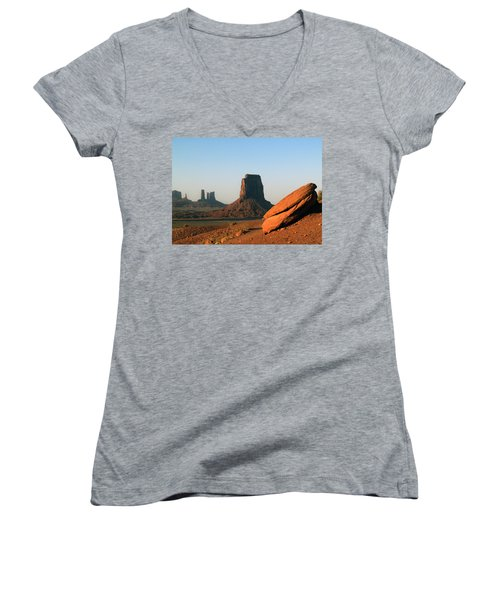 Monument Valley Afternoon Women's V-Neck T-Shirt (Junior Cut) by Jeff Brunton