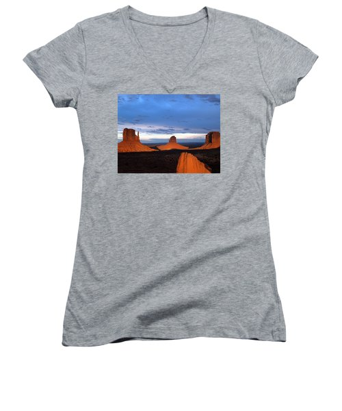 Monument Valley @ Sunset 2 Women's V-Neck T-Shirt (Junior Cut) by Jeff Brunton