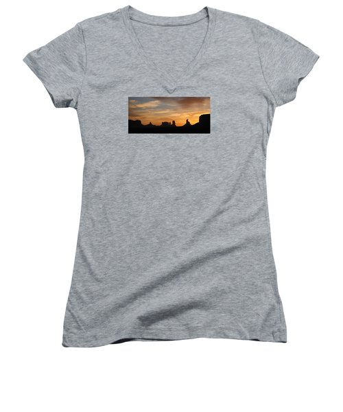 Monument Valley Sunrise Women's V-Neck (Athletic Fit)