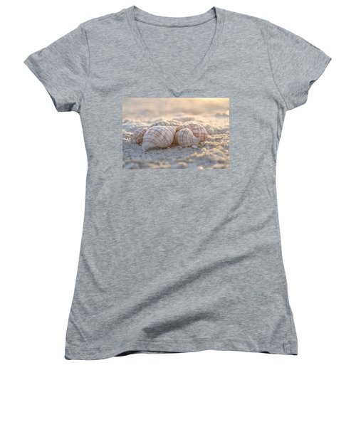 Mood To Moment Women's V-Neck T-Shirt (Junior Cut) by Melanie Moraga
