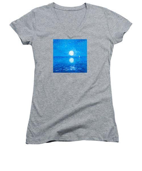 Moon And Stars Women's V-Neck T-Shirt