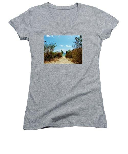Women's V-Neck T-Shirt (Junior Cut) featuring the photograph Moon Bay Walk by Amar Sheow