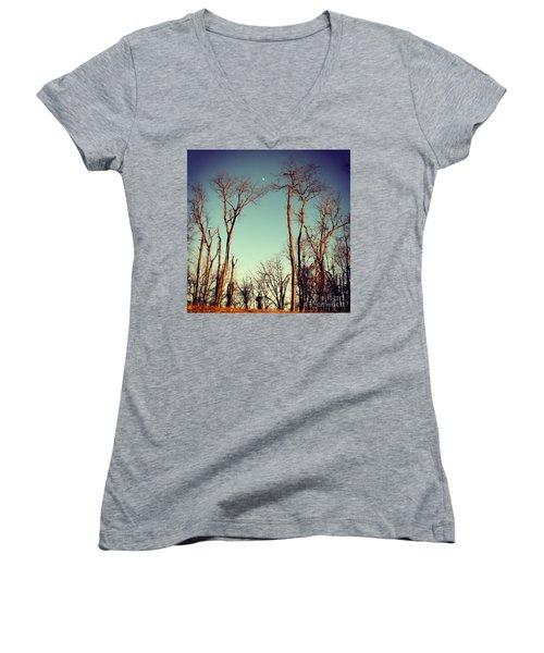 Moon Between The Trees Women's V-Neck T-Shirt (Junior Cut) by Kerri Farley