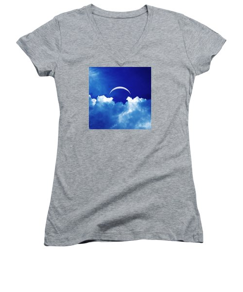 Moon Cloud Women's V-Neck T-Shirt (Junior Cut) by Joseph J Stevens