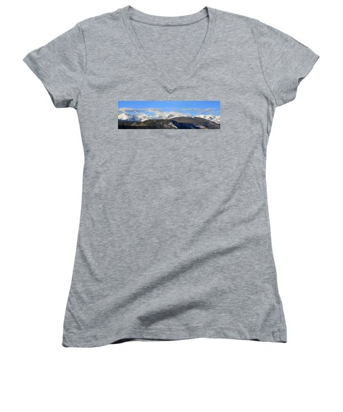 Moon Over The Rockies - Panorama Women's V-Neck (Athletic Fit)