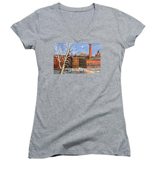 Moon Over Waltham Watch Women's V-Neck T-Shirt (Junior Cut) by Rita Brown