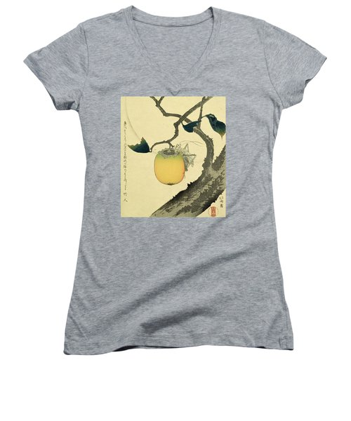 Moon Persimmon And Grasshopper Women's V-Neck T-Shirt