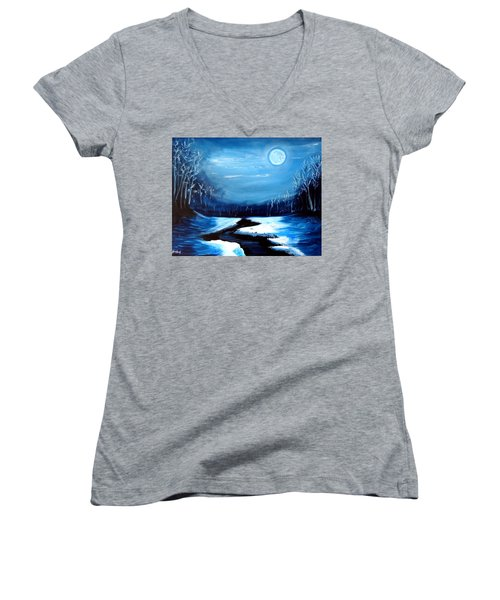 Moon Snow Trees River Winter Women's V-Neck T-Shirt