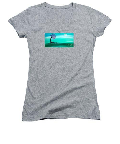 Moonlit Palm Women's V-Neck T-Shirt (Junior Cut) by Jacqueline Athmann