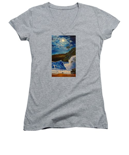 Women's V-Neck T-Shirt (Junior Cut) featuring the painting Moonlit Wave 11 by Jenny Lee