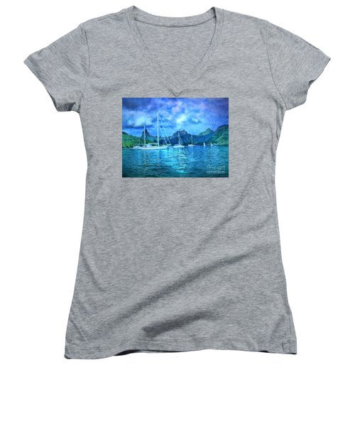 Women's V-Neck T-Shirt (Junior Cut) featuring the digital art Moonrise In Mo'orea by Lianne Schneider