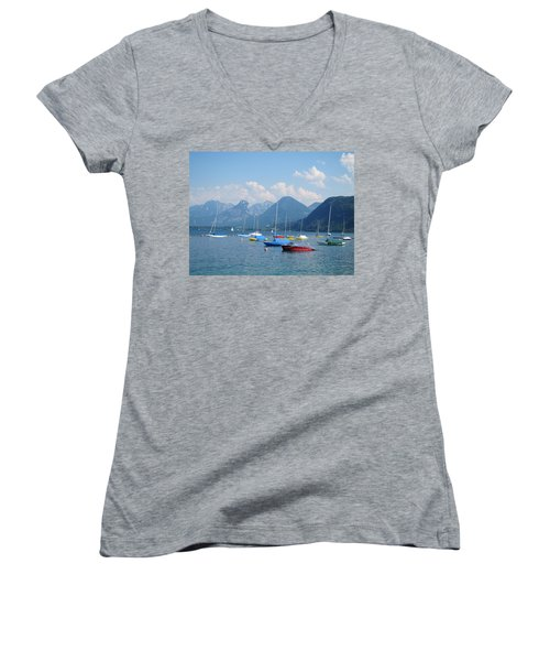 Women's V-Neck T-Shirt (Junior Cut) featuring the photograph Moored Boats by Pema Hou